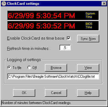 ClockCard Settings screen in ClockWatch